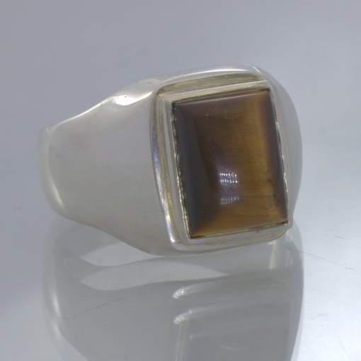 Tigers Eye Burma Rectangle Cabochon Gemstone 925 Silver Ring size 10 Design 52