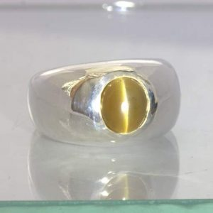 Golden Tone Yellow Apatite Cat's Eye Cabochon 925 Gents Ring size 9 Design 160
