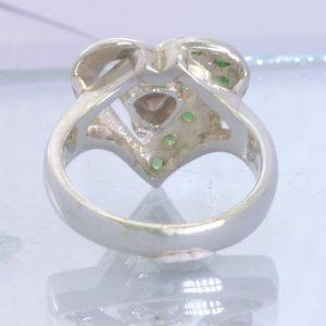 Smoky Quartz Tsavorite Green Garnet Sterling Ladies Ring Size 8 Heart Design 91
