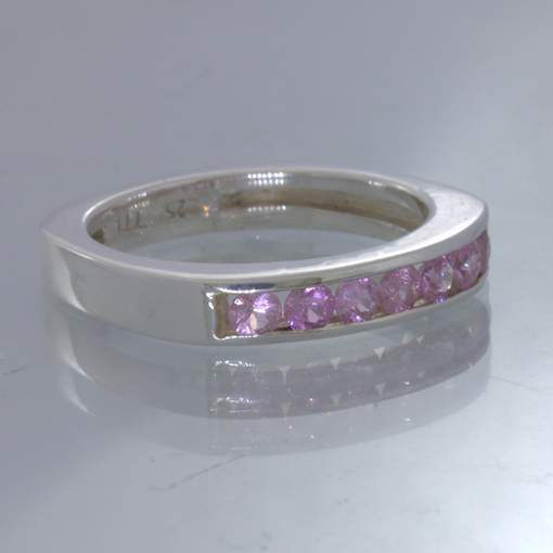 Pink Burma Sapphire Sterling Channel Set Ring size 9 Square Round Design 107