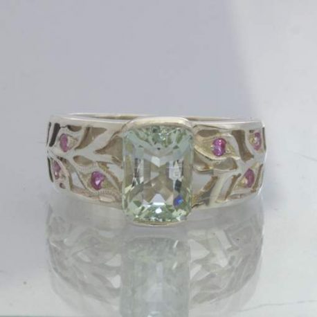 Unheated Green Aquamarine Pink Sapphire Sterling Silver Ring size 6.25 Design 89