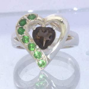 Smoky Quartz Tsavorite Green Garnet Sterling Ladies Ring Size 8 Heart Design 91