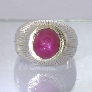 Red Pink Ruby Cabochon 925 Silver Gents Ring size 10.25 Wide Groovy Design 400