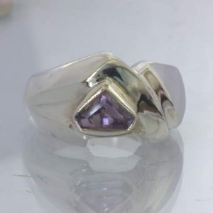 Lavender Purple Burmese Spinel Handmade 925 Ring size 7.25 Pentagon Design 194