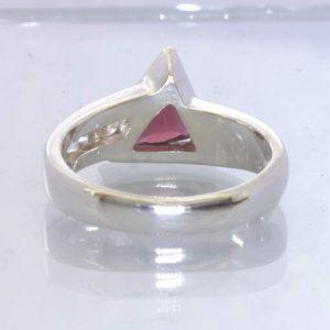 Red Rhodolite Garnet Triangle White Sapphire Channel 925 Ring size 7 Design 5