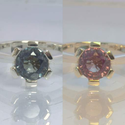 Color Shift Change Lab Created Sapphire 925 Ring Size 7.75 Engagement Design 189