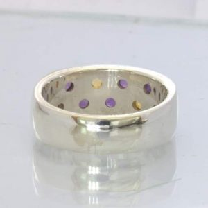 Purple Amethyst Yellow Citrine 925 Silver Unisex Ring Size 6.75 Band Design 92