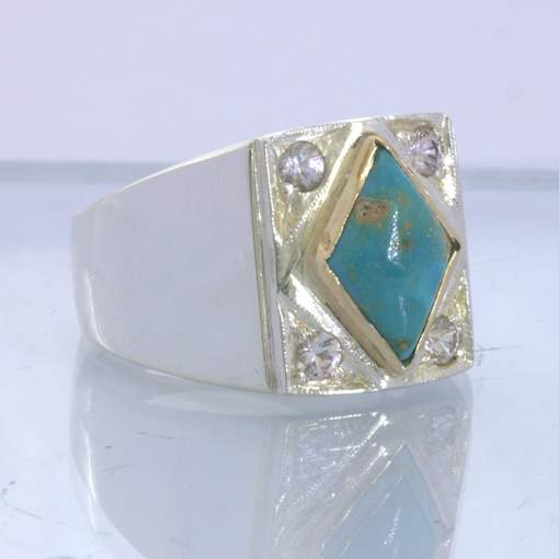 American Turquoise White Sapphire Silver 18K Gold Gents Ring size 10 Design 382