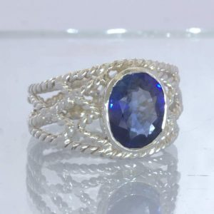 Blue Sapphire Lab Created Gem 925 Ring Size 10.25 Geometric Filigree Design 86