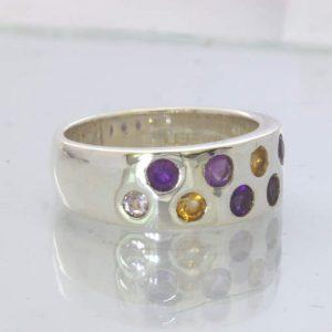 Purple Amethyst Yellow Citrine 925 Silver Unisex Ring Size 6.75 Band Design 92