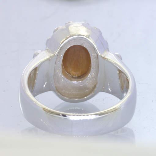 Tanzanian Sunstone Confetti Cross 925 Silver Dome Halo Ring Size 9.5 Design 119