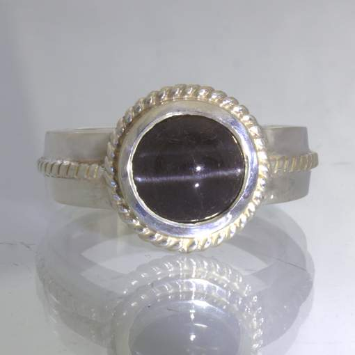 Black Sillimanite Cat's Eye 925 Silver Filigree Unisex Ring size 10.5 Design 170