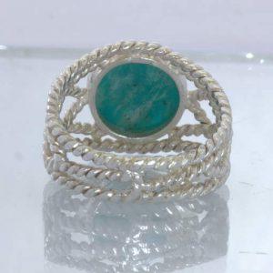 Amazonite Round Cabochon 925 Silver Ring Size 8.25 Geometric Filigree Design 86