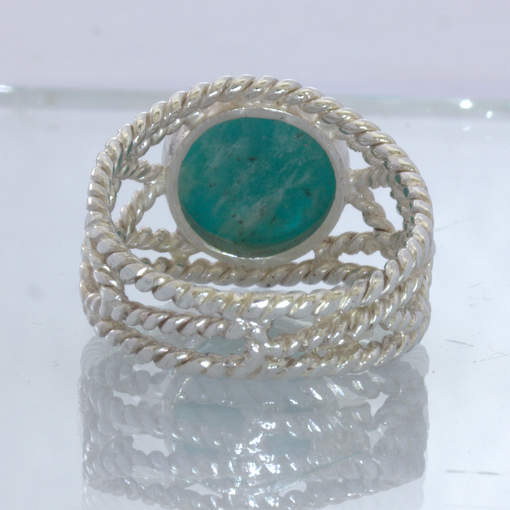 Amazonite Round Cabochon 925 Silver Ring Size 8.25 Geometric Filigree Design 86