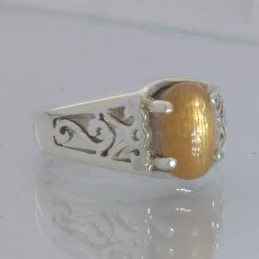 Tanzanian Confetti Sunstone 925 Filigree Unisex Ring size 5.75 Ajoure Design 1