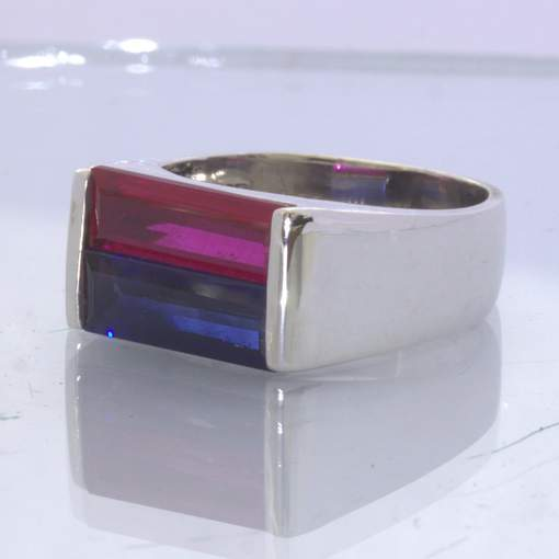 Blue Sapphire Red Ruby Lab Gems 925 Silver Ring size 9.25 Double Stone Design 2