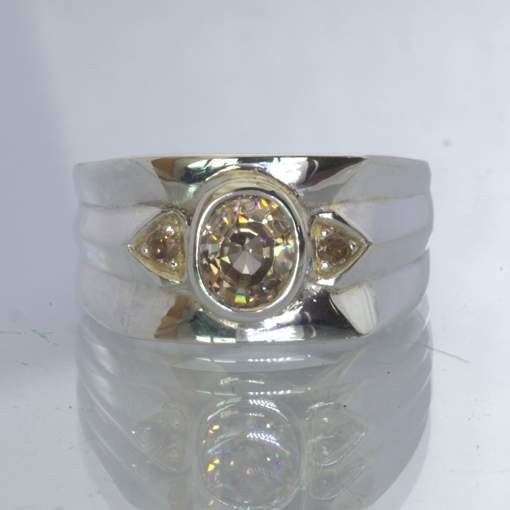 Cambodia Cognac Zircon Cognac Diamond Sterling Silver Ring Size 9.25 Design 26