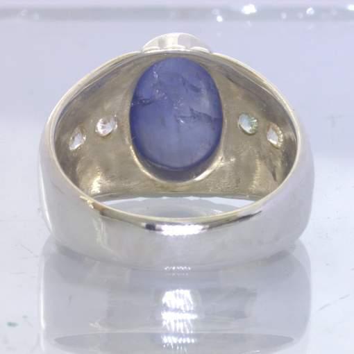 Burmese Blue Sapphire Cab White Sapphires 925 Silver Ring size 10.75 Design 357