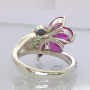 Ruby Spinel Green Tsavorite Garnets 925 Flower Ring Size 7.75 Floral Design 210