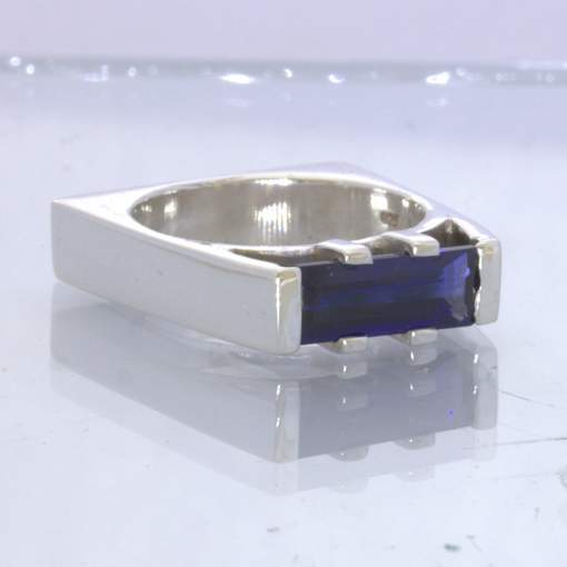 Blue Sapphire Lab Created Rectangle Gem 925 Ring Size 7 Square Bridge Design 120