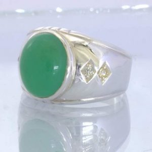Green Chrysoprase Cab White Sapphire 925 Silver Gents Ring Size 9.75 Design 357