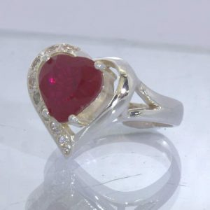 Lab Created Red Ruby Heart White Sapphire Sterling Ladies Ring size 9 Design 91