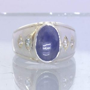 Burmese Blue Sapphire Cab White Sapphires 925 Silver Ring size 10.75 Design 357