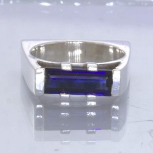 Blue Sapphire Lab Created Rectangle Gem 925 Ring Size 7 Square Bridge Design 120