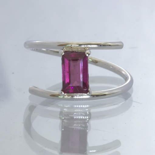 Rhodolite Red Purple Garnet Solitaire 925 Silver Ring Size 7.25 Wire Design 340