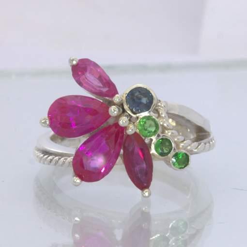 Ruby Spinel Green Tsavorite Garnets 925 Flower Ring Size 7.75 Floral Design 210