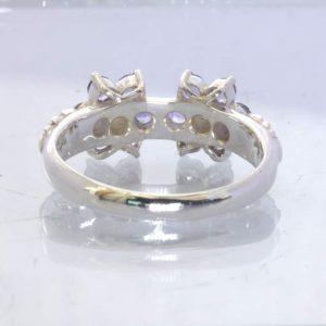 Blue Tanzanite Yellow Diamond 925 Silver Ring size 9.5 Twin Flower Design 393