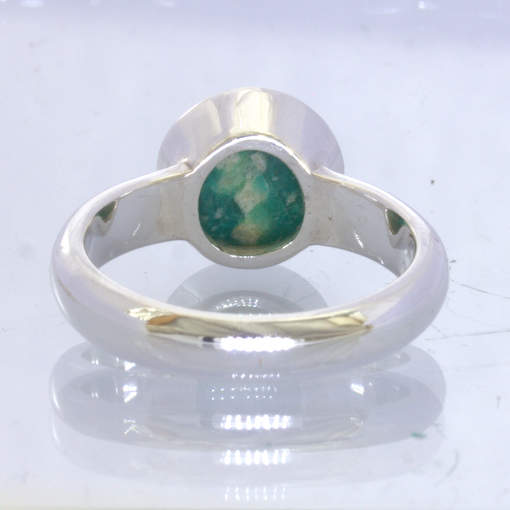 Blue Green Amazonite Round Cabochon 925 Silver Ring Size 9 Solitaire Design 168