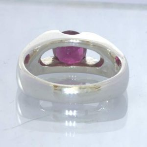 Red Purple Rhodolite Garnet 925 Silver Ring size 8 Unisex Solitaire Design 22