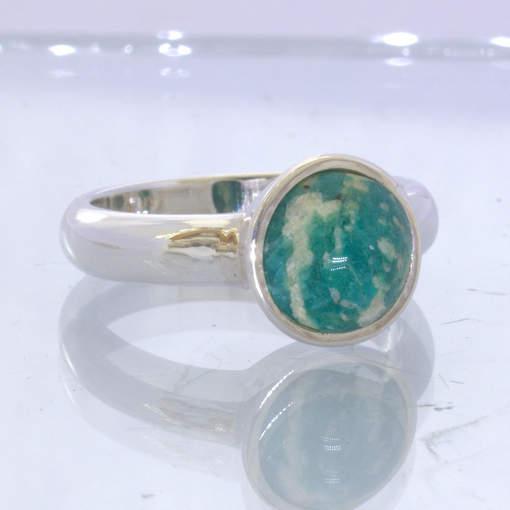 Blue Green Amazonite Round Cabochon 925 Silver Ring Size 9 Solitaire Design 168