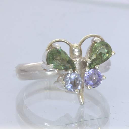 Green Sapphire Blue Sapphire Sterling Silver Ring Size 5.5 Butterfly Design 48