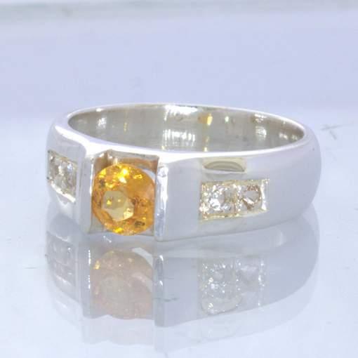 Fanta Orange Spessartite Garnet White Sapphire Sterling Ring Size 7.5 Design 179
