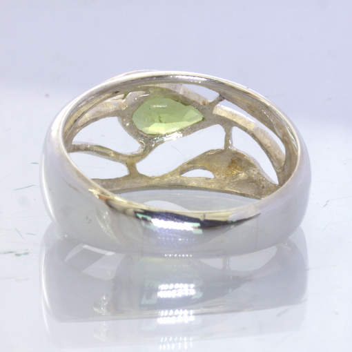 Peridot Pear 925 Silver Ring size 7.5 Unisex Filigree Ajoure Leaf Design 395