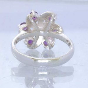 Purple Burma Amethyst Rounds 925 Silver Ladies Ring Size 8 Pinwheel Design 188