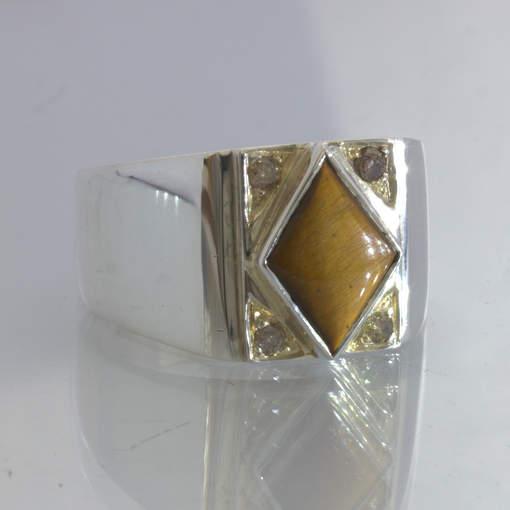 Tigers Eye Burma Gemstone Cognac Diamond 925 Silver Ring size 9.5 Design 382