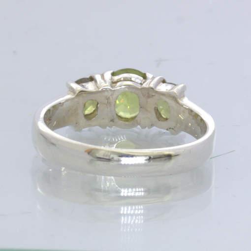 Burma Peridot Africa Demantoid Garnet 925 Silver 3 Stone Ring size 7 Design 49