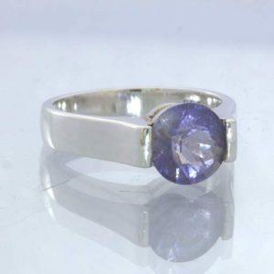 Gray Blue Purple Iolite Round Gemstone 925 Silver Ring Size 7 Unisex Design 55