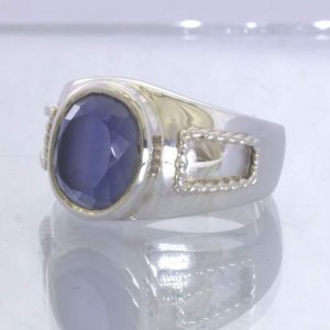 Lab Blue White Sapphire Oval 925 Silver Filigree Gents Ring size 10 Design 289