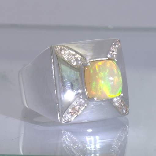 Welo Opal Square White Sapphires Sterling Silver Gents Ring Size 10.5 Design 503