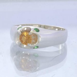 Hessonite Orange Tsavorite Garnet 925 Ring Size 9 Floral Volcano Design 352