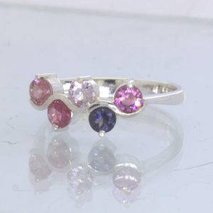Pink Blue White Purple Burma Spinel 925 Silver Ladies Ring size 9.75 Design 218