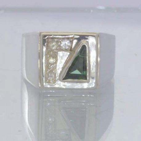 Green Tourmaline White Sapphire 925 Ring Size 9 Geometric Triangle Design 87