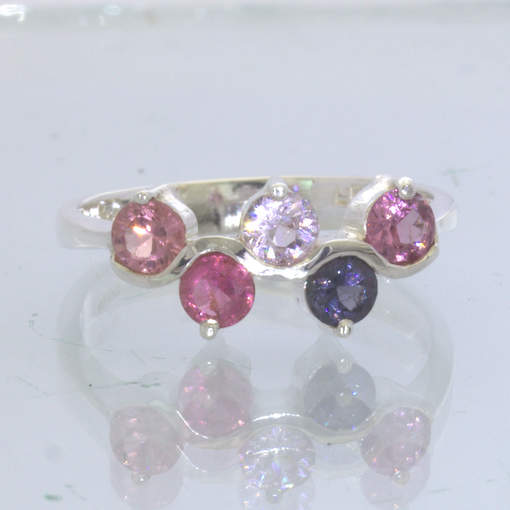 Pink Blue White Purple Burma Spinel 925 Silver Ladies Ring size 9.75 Design 218