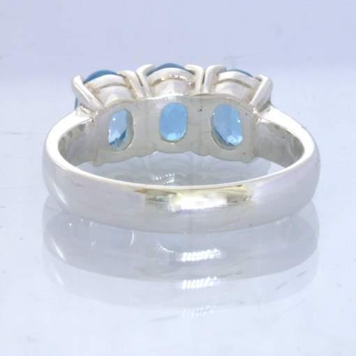 Swiss Blue Topaz Gems 925 Silver Ladies Three Stone Ring Size 6.75 Design 666