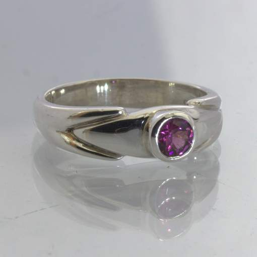 Raspberry Red Purple Burma Spinel 925 Silver Solitaire Ring Size 6.75 Design 212