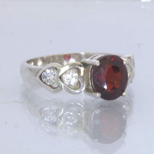 Red Almandine Garnet Cubic Zirconia 925 Silver Ring size 7.5 Heart Design 114